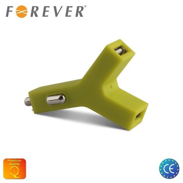 Forever 2 x1.1A 12V/24V Y-Type Divu Ligzdu Universāls USB Lādētājs Zaļa (EU Blister) cena un informācija | Lādētāji un savienotājkabeļi | 220.lv