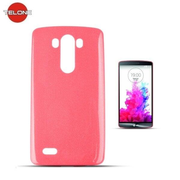 Telone Candy Super Plāns 0.3mm Silikongēla Telefona Apvalks ar spīdumiem LG G3 D855 Rozā cena un informācija | Maciņi, somiņas | 220.lv