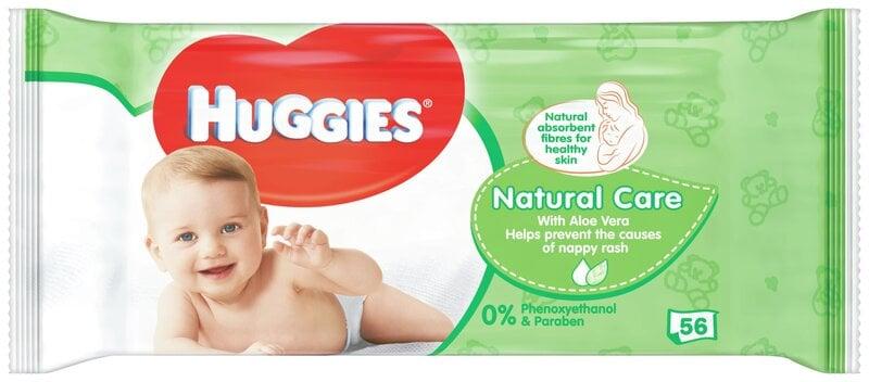 Mitrās salvetes HUGGIES Natural Care, 56gab. cena un informācija | Autiņbiksītes un aksesuāri | 220.lv