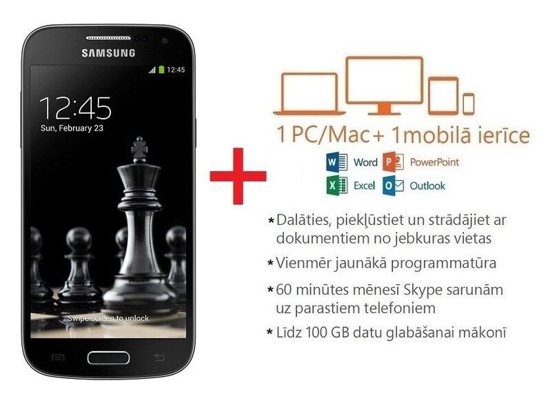 Samsung i9195 Galaxy S4 Mini 8GB + 4G Black Edition (Melns) + Microsoft Office 365 Personal uz 1 gadu LAT cena un informācija | Mobilie telefoni | 220.lv