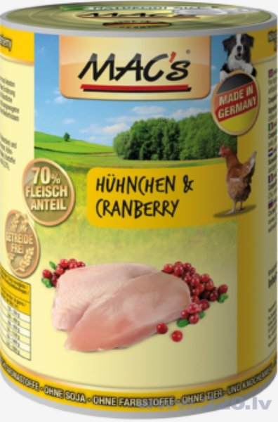 Konservi suņiem Mac's Chicken & Cranberry 400 g