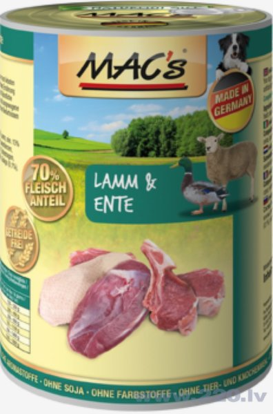 Konservi suņiem Mac's Lamb & Duck 400 g cena un informācija | Konservi suņiem | 220.lv