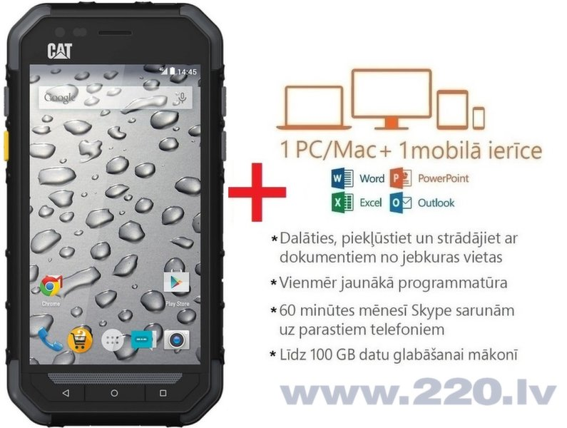 CATerpillar CAT S30 4G black (Melns) + Microsoft Office 365 Personal uz 1 gadu ENG цена и информация | Mobilie telefoni | 220.lv