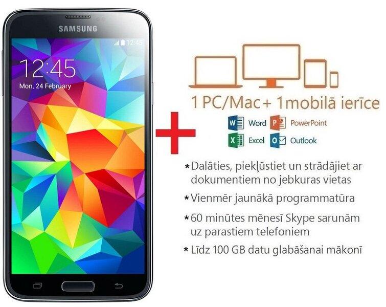 Samsung G900 Galaxy S5 16GB Black (Melns) + Microsoft Office 365 Personal uz 1 gadu LAT цена и информация | Mobilie telefoni | 220.lv
