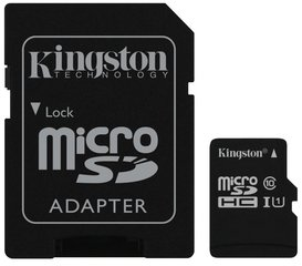 Kingston MicroSDHC 16GB G2 Class10 UHS-I + SD adapteris