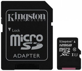 Kingston MicroSDXC 128GB G2 Class10 UHS-I + SD adapteris
