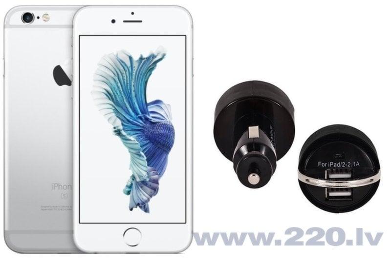Apple iPhone 6s 64GB Silver (Sudrabs) + Auto Lādētājs ar 2 USB Ligzdām cena un informācija | Mobilie telefoni | 220.lv
