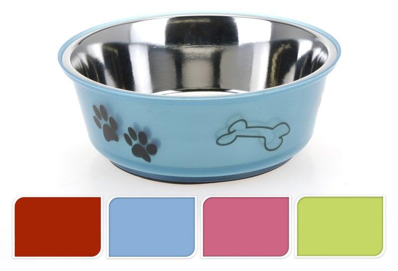 Barošanas bļoda no nerūsējošā tērauda (900 ml, dažādas krāsas) cena un informācija | Bļodas, kastes pārtikas | 220.lv