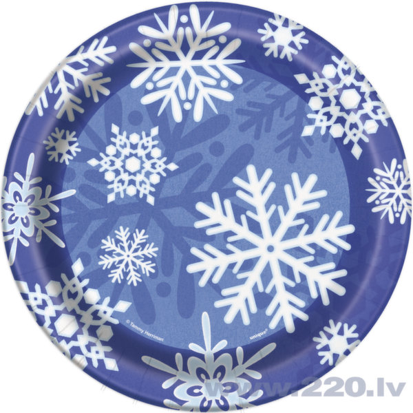 Šķīvis Sniegpārsliņa 8 gab./18 cm cena un informācija | Svētku dekorācijas un vienreizlietojamie trauki | 220.lv