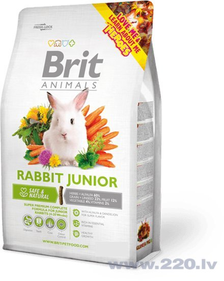 Trušu barība Brit Animals Rabbit Junior 300 g cena un informācija | Barība grauzējiem | 220.lv
