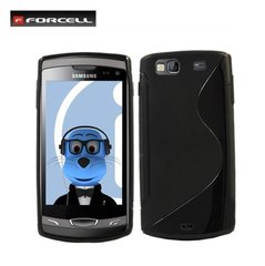 Forcell Back Case S-Line Samsung S8600 Wave 3 gumijas/plastikāta telefona apvalks Melns