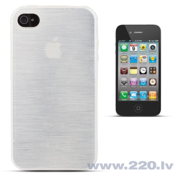 Forcell Jelly Brush Perlamutra telefona silikona apvalks Apple iPhone 4 4S Balts