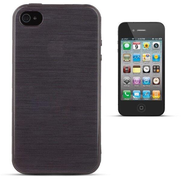 Forcell Jelly Brush Perlamutra telefona silikona apvalks Apple iPhone 4 4S Melns cena un informācija | Maciņi, somiņas | 220.lv