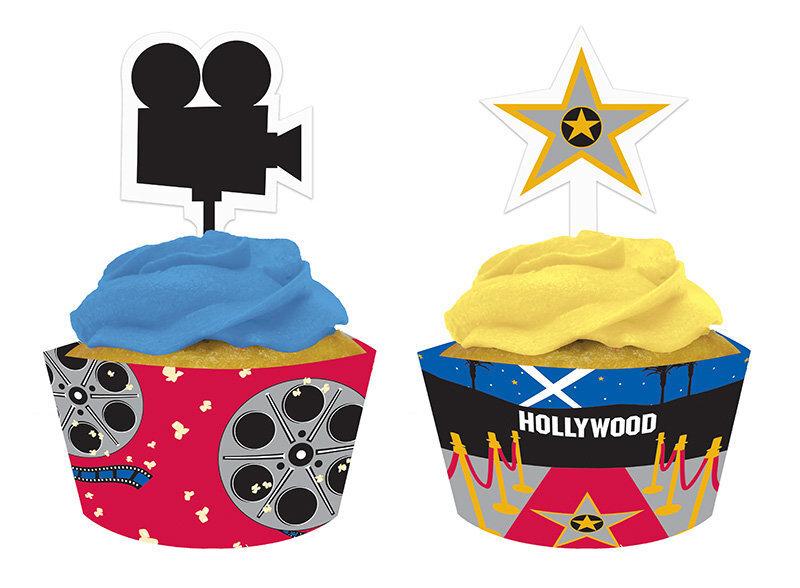 Kēksu rotājumi Hollywood 12 gab. cena un informācija | Svētku dekorācijas un vienreizlietojamie trauki | 220.lv