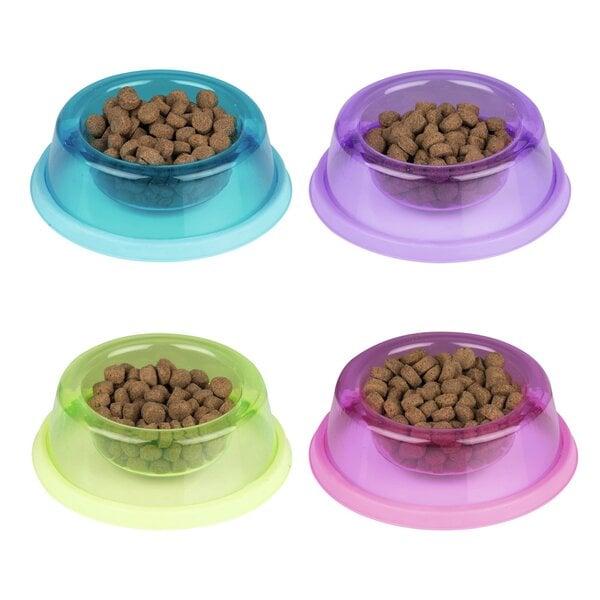 Plastmasas barošanas bļoda ar gumiju (19x6,5 cm, dažādas krāsas) cena un informācija | Bļodas, kastes pārtikas | 220.lv