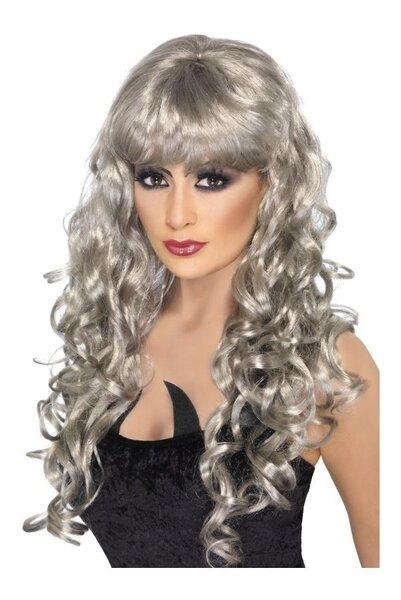 Parūka ar gariem pelēkiem matiem cena un informācija | Karnevāla kostīmi, maskas un parūkas | 220.lv