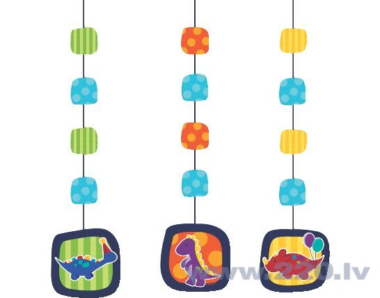 Piekaramie rotājumi Dinozauri 3 gab , cena un informācija | Svētku dekorācijas un vienreizlietojamie trauki | 220.lv