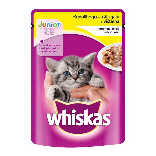 WHISKAS Junior konservi ar cāļa gaļu želejā kaķēniem, 100 g cena un informācija | Konservi kaķiem | 220.lv