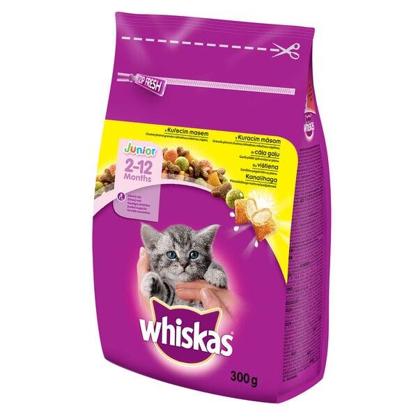 Whiskas Junior sausā barība kaķēniem ar cāļa gaļu 300 g cena un informācija | Sausā barība kaķiem | 220.lv