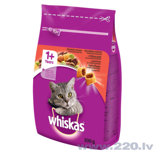 Whiskas 1+ sausā barība ar liellopa gaļu 300 g cena un informācija | Sausā barība kaķiem | 220.lv