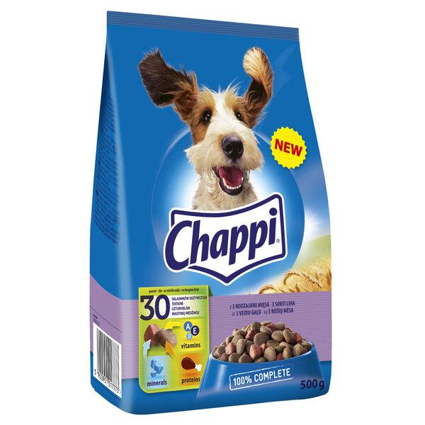CHAPPI sausā barība suņiem ar 3 veidu gaļu 500g cena un informācija | Sausā barība suņiem | 220.lv