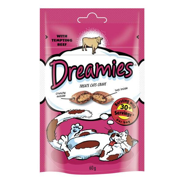 Gardums kaķiem ar liellopa gaļu DREAMIES 60 g cena un informācija | Gardumi kaķiem | 220.lv
