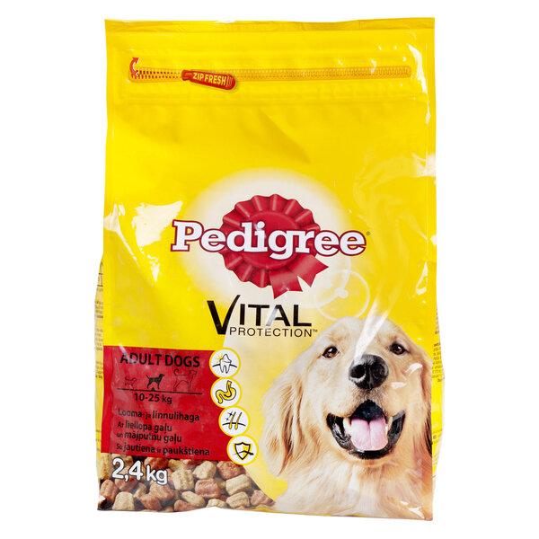 PEDIGREE sausā barība suņiem ar liellopu un mājputnu gaļu 2,4 kg cena un informācija | Sausā barība suņiem | 220.lv