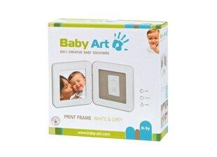 Baby Art Print Frame komplekts mazuļa pēdiņu/rociņu nospieduma izveidošanai, balts/pelēks