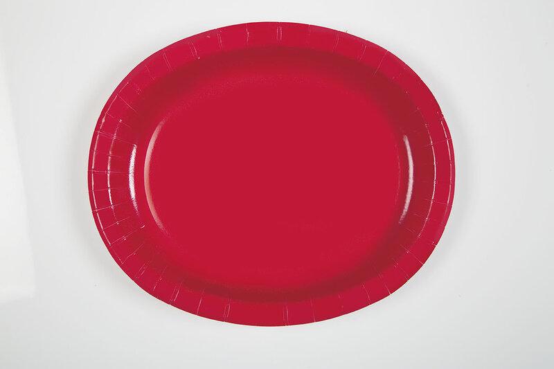 Šķīvji, sarkanie (8 gab./30 cm) cena un informācija | Svētku dekorācijas un vienreizlietojamie trauki | 220.lv