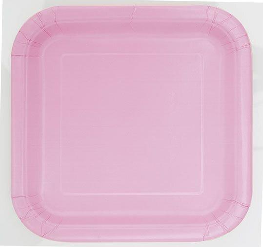 Kvadrāta šķīvji, rozā 16 gab./18 cm cena un informācija | Svētku dekorācijas un vienreizlietojamie trauki | 220.lv