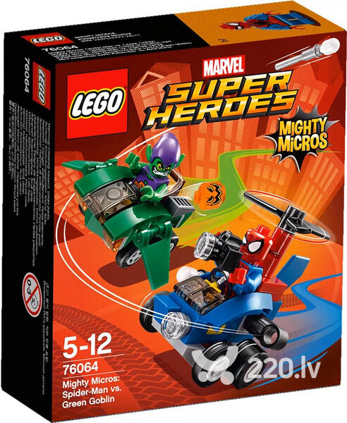 Конструктор Lego Super Heroes Mighty Micros: Spider-Man vs. Green Goblin 76064 цена и информация | LEGO | 220.lv