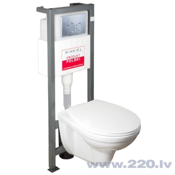 WC komplekts Bonus: WC montāžas rāmis + tualetes pods + poga + soft-close vāks cena un informācija | Iebūvējamie rāmji | 220.lv