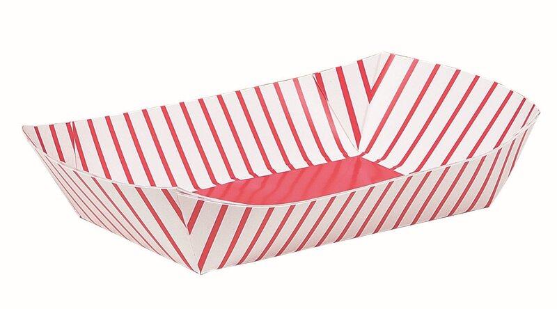 Paplātes uzkodam, sarkanas,svītrainas 4 gab. cena un informācija | Svētku dekorācijas un vienreizlietojamie trauki | 220.lv