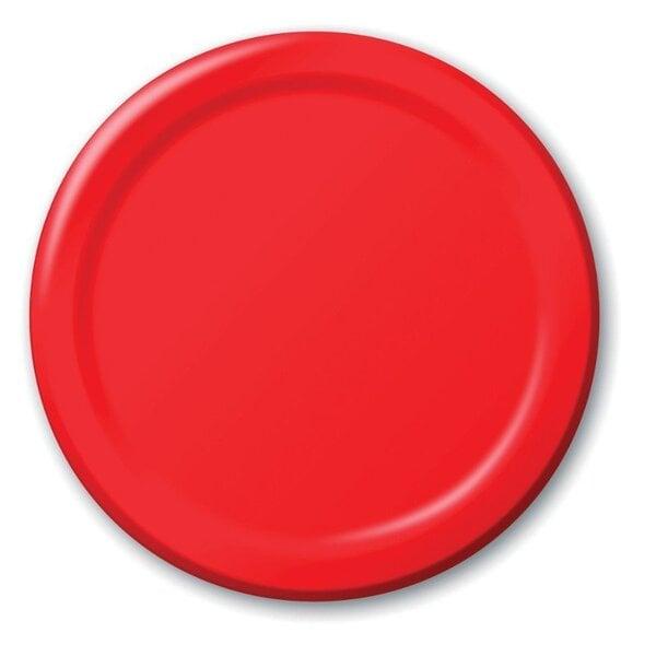 Šķīvji, sarkanie (8 gab./17 cm) cena un informācija | Svētku dekorācijas un vienreizlietojamie trauki | 220.lv
