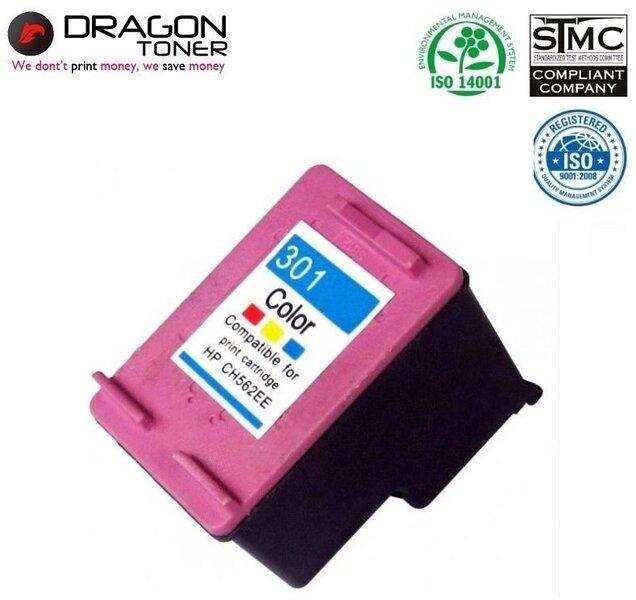 Dragon HP 301XL CH564EE Krāsains Tintes Kārtridžs 18 ml priekš DeskJet 1050 2050 3050 uc HQ Premium Analogs cena un informācija | Izejmateriāli | 220.lv