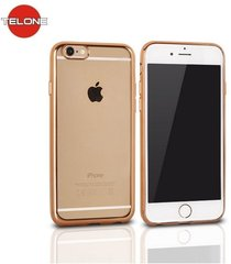 Telone Super Plāns Caurspīdīgs Silikona Aizmugures Apvalks Apple iPhone 6 6S 4.7inch ar Zelta krāsas rāmīti cena un informācija | Maciņi, somiņas | 220.lv