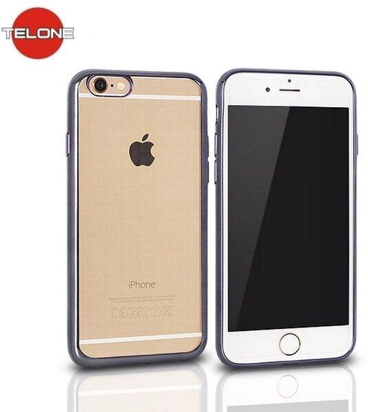 Telone Super Plāns Caurspīdīgs Silikona Aizmugures Apvalks Apple iPhone 6 Plus 6S Plus 5.5inch ar Pelēka krāsas rāmīti cena un informācija | Maciņi, somiņas | 220.lv