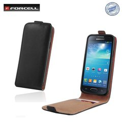 Forcell Flexi Slim Flip Asus Zenfone 2 ZE551ML vertikāli atverams silikona ietvarā Melns cena un informācija | Maciņi, somiņas | 220.lv