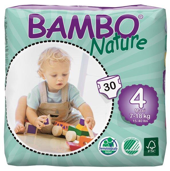Ekoloģiskās autiņbiksītes Bambo Nature Maxi, 4, 7-18 kg, 30 vnt. cena un informācija | Autiņbiksītes un aksesuāri | 220.lv