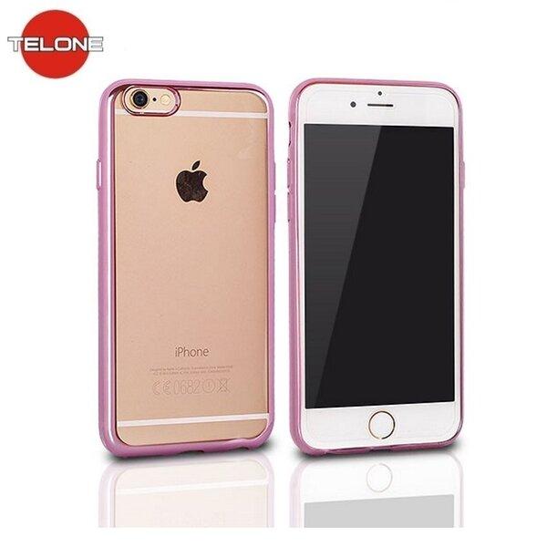 Telone Супер Тонкий Прозрачный Силиконовый Чехол-крышка Apple iPhone 5 5S 5SE c Розовой рамкой цена и информация | Maciņi, somiņas | 220.lv