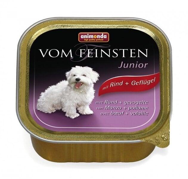 Konservi VOM FEINSTEN junior ar liellopu un mājputnu gaļu, 150 g cena un informācija | Konservi suņiem | 220.lv