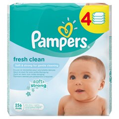 Влажные салфетки Pampers Fresh Clean 4x64 шт. цена и информация | Подгузники и аксесуары | 220.lv