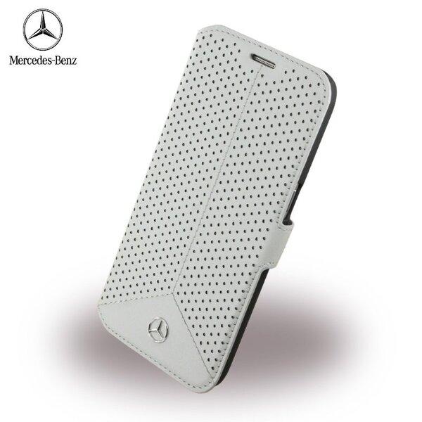 Mercedes MEFLBKS7PEGR Pure Line Perforēts Ādas Super plāns sāniski atverams maks Samsung G930F Galaxy S7 Pelēks cena un informācija | Maciņi, somiņas | 220.lv