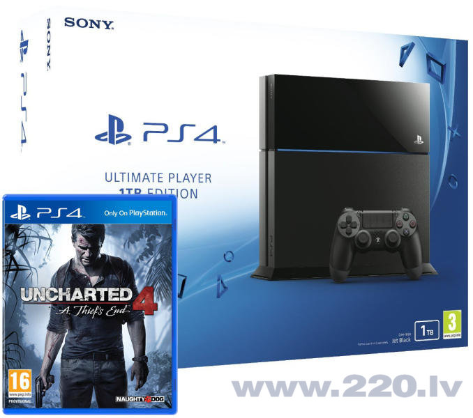 SONY Playstation 4 1TB + Uncharted 4 цена и информация | Spēļu konsoles | 220.lv