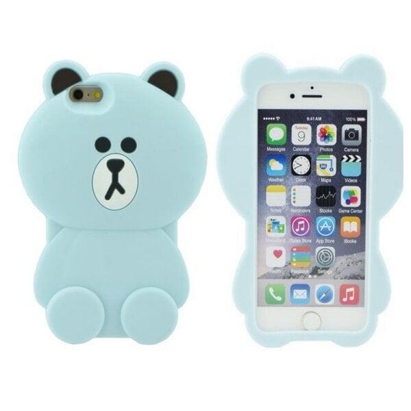 Zooky Silikona 3D telefona apvalks Apple iPhone 5 5S 5SE Gaiši Zils Lācis cena un informācija | Maciņi, somiņas | 220.lv