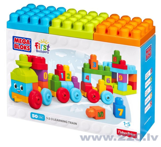 Klucīšu komplekts Mega Bloks, Learning Train, 50 gab, DKX60 cena un informācija | Konstruktori | 220.lv