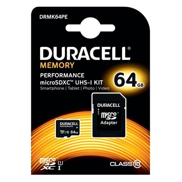 Duracell MicroSDHC 64GB Class10 UHS-I + SD adapteris DRMK64PE cena un informācija | Atmiņas kartes | 220.lv