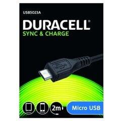 Duracell Universāls Mirco USB Datu & Uzlādes Kabelis 2m Melns cena un informācija | Savienotājkabeļi | 220.lv