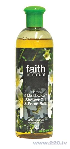 Dušas želeja un vannas putas Faith in Nature Kaņepju & Limnante 250 ml cena un informācija | Mazgašanās līdzekļi | 220.lv