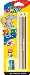 Krāsainie zīmuļi ar asināmo COLORINO KIDS Jumbo, zelts un sudrabs, 51675PTR
